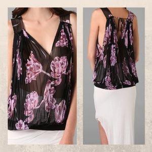 Free People Hibiscus Floral Pleated Sleeveless Top